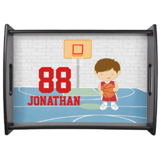 Cute basketball player red basketball jersey serving trays