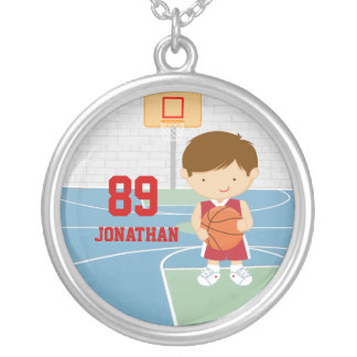 Cute basketball player red basketball jersey round pendant necklace