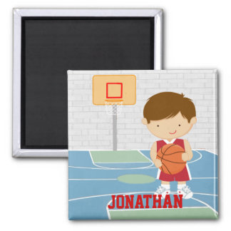 Cute basketball player red basketball jersey square magnet