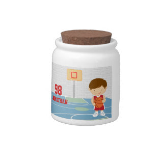 Cute basketball player red basketball jersey candy jar