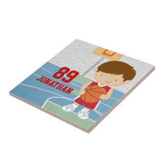 Cute basketball player red basketball jersey small square tile