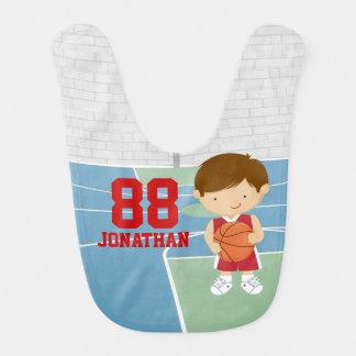 Cute basketball player red basketball jersey baby bibs