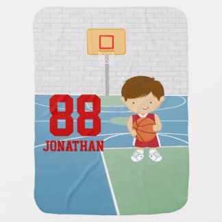 Cute basketball player red basketball jersey receiving blanket
