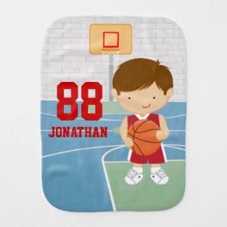 Cute basketball player red basketball jersey burp cloths