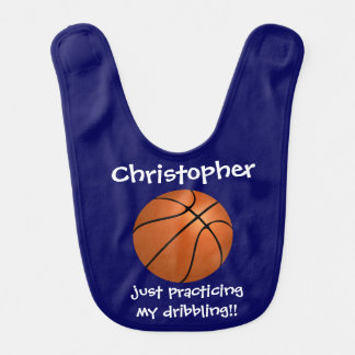 Cute Basketball w name, practicing dribbling! Navy Bib