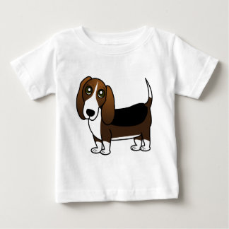 Cute Basset Hound Cartoon - Brown White and Black Baby T-Shirt