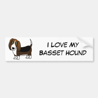 Cute Basset Hound Cartoon - Brown White and Black Bumper Sticker