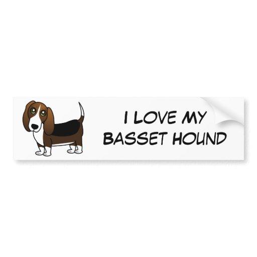 Cute Basset Hound Cartoon - Brown White and Black Car Bumper Sticker ...