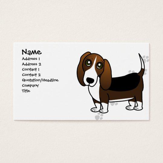 Cute Basset Hound Cartoon - Brown White and