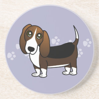 Cute Basset Hound Cartoon - Brown White and Black Drink Coasters