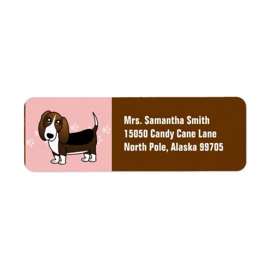Cute Basset Hound Cartoon - Brown White and Black Return Address Label