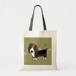 Cute Basset Hound Cartoon - Brown White and Black Tote Bag