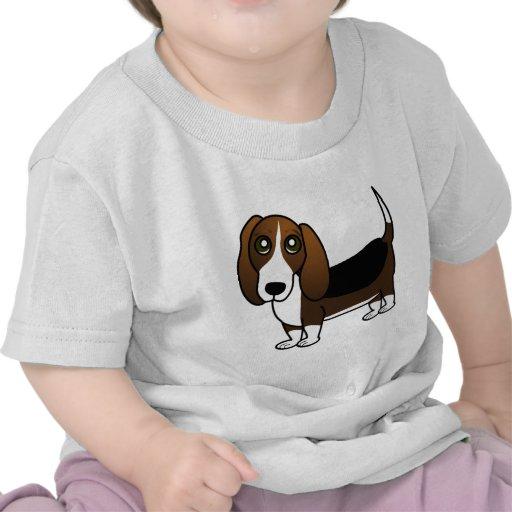 Cute Basset Hound Cartoon - Brown White and Black Tshirt