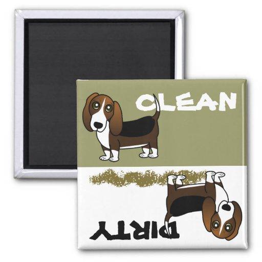 Cute Basset Hound Clean Dirty Dishwasher Magnet