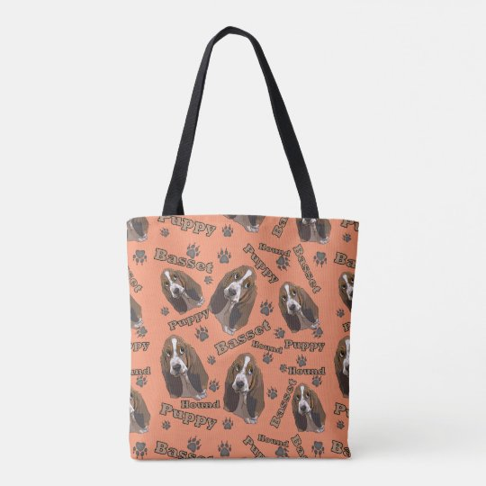 Cute Basset Hound Paw Prints Pattern Tote Bag