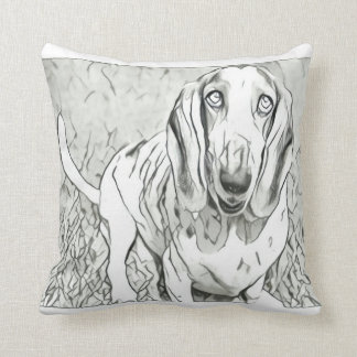 Cute Basset Hound Throw Pillow