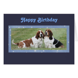 Cute Bassets on Birthday Card From The Two Of Us