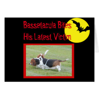 """Cute Bassets On Funny """"Howl-o-ween"""" Card"""