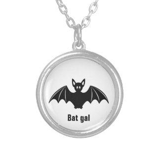 Cute bat cartoon pun joke necklace
