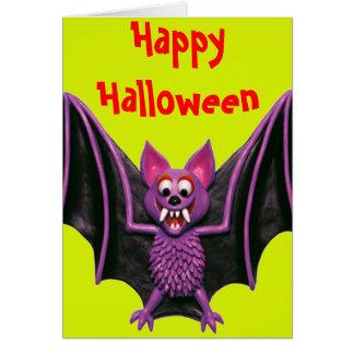Cute Bat Halloween Party Card