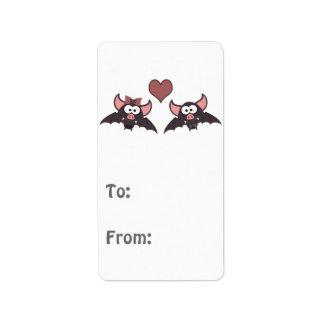 Cute Bat Love Desgin Address Label