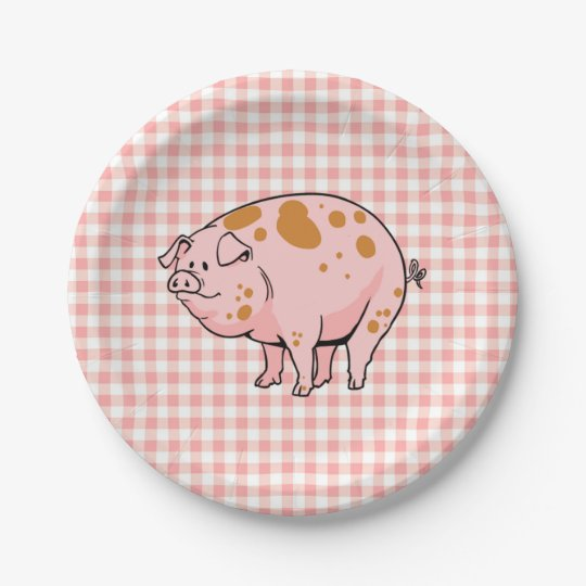 Cute BBQ Pig Cookout Rose Pink Gingham Check