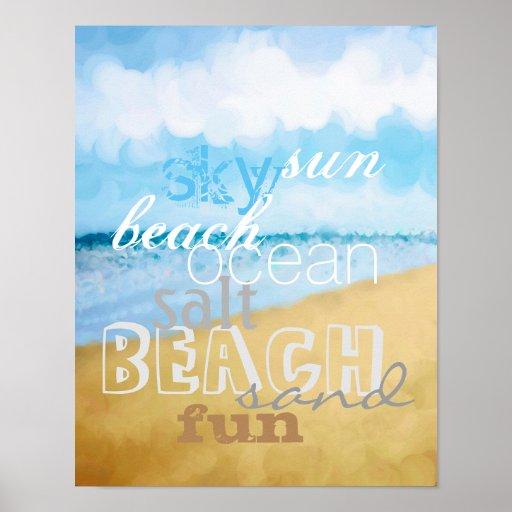 cute beach art poster with text wall art