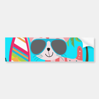 Cute Beach Bum Kitty Cat Sunglasses Beach Ball Bumper Sticker