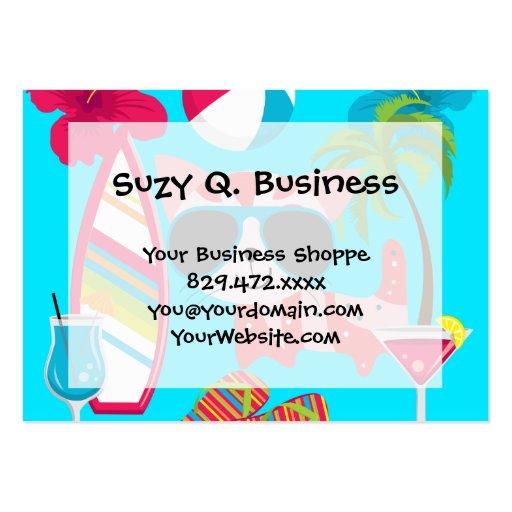 Cute Beach Bum Kitty Cat Sunglasses Beach Ball Business Card Template