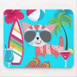 Cute Beach Bum Kitty Cat Sunglasses Beach Ball Mouse Pads
