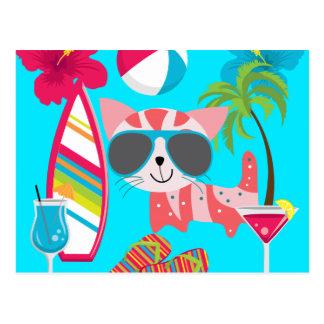 Cute Beach Bum Kitty Cat Sunglasses Beach Ball Postcard