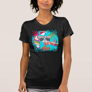 Cute Beach Bum Kitty Cat Sunglasses Beach Ball Tee Shirts