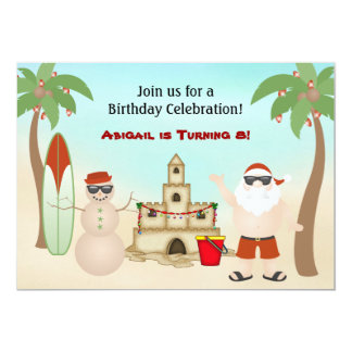 "Cute Beach Christmas Holiday Birthday Invitation 5"" X 7"" Invitation Card"