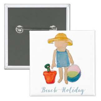 Cute Beach Girl on Summer Holiday 15 Cm Square Badge