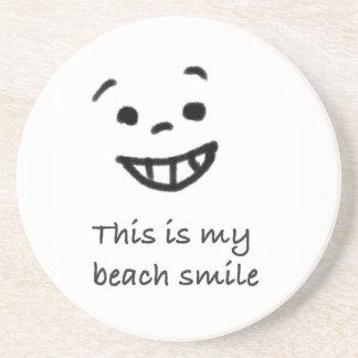 Cute Beach Lover Smile Doodle Face Text Design Coaster