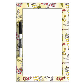 Cute Beach Scene Pattern Dry Erase Whiteboards