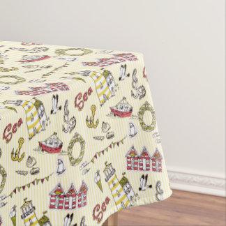 Cute Beach Scene Pattern Tablecloth
