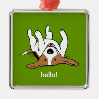 Cute Beagle Cartoon Dog with Customizable Text Christmas Ornament