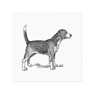 Cute Beagle Elegant Dog Drawing Gallery Wrapped Canvas