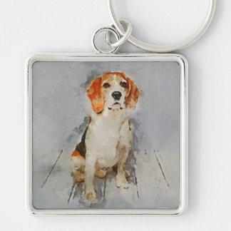 Cute Beagle Portrait Key Ring