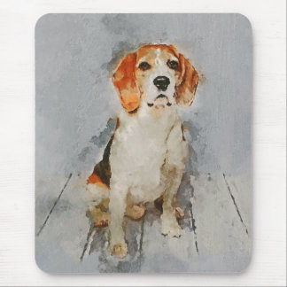Cute Beagle Portrait Mouse Mat