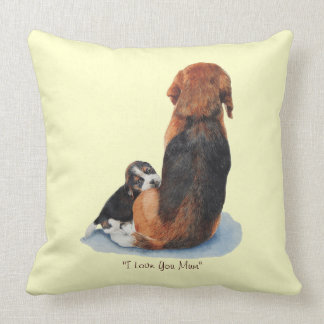 Cute beagle pup mom dog art reversable pillow