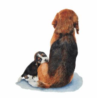 cute beagle puppy and mum dog art fridge magnet standing photo sculpture