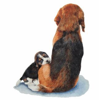 cute beagle puppy and mum dog art keychain photo sculpture key ring