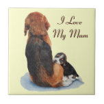 cute beagle puppy and mum dog art tile