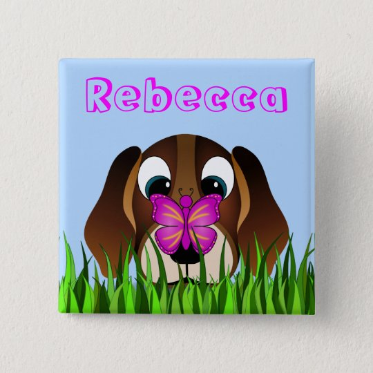 Cute Beagle Puppy Dog and Butterfly Girls Name