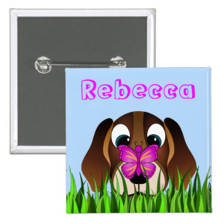 Cute Beagle Puppy Dog and Butterfly Girls Name 15 Cm Square Badge