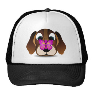 Cute Beagle Puppy Dog and Butterfly Pink Hat