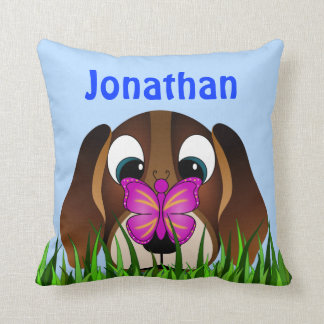 Cute Beagle Puppy Dog and Butterfly Square Pillows Throw Pillows