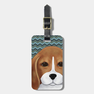 Cute Beagle Puppy Dog Chevron Blue Navy Gold Luggage Tag